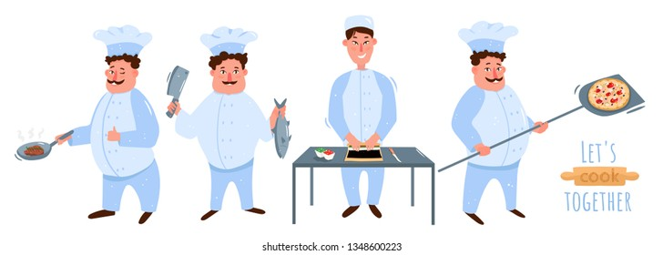 Chef's set. Cook fried steak, puts a knife over the fish, puts pizza in the oven, Chinese chef wraps sushi,rolls. Let's cook together! Vector illustration isolated on white in cartoon style.