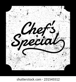 Chef's special grunge board, vector illustration