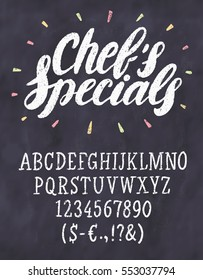 Chef's specials. Chalkboard menu template.