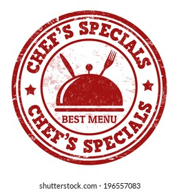 Chef's specials grunge rubber stamp on white, vector illustration