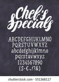 Chef's specials menu. Chalkboard template.