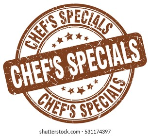 chef's specials. stamp. brown round grunge vintage chef's specials sign