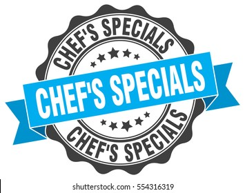 chef's specials. stamp. sticker. seal. round grunge vintage ribbon chef's specials sign