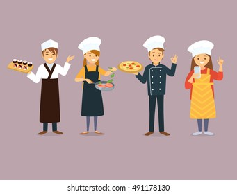 Chefs, sushi, fish, cookies, pizza delivery