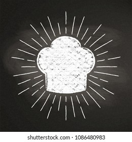 Chef's toque chalk silhoutte with  sun rays on blackboard. Good for cooking logotypes, bades or posters.