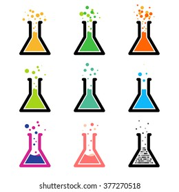 Chem logo. Test tubes with colored reagent. Chemical reaction. Laboratory experiment.