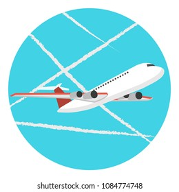 Chem trails concept. Flat vector illustration