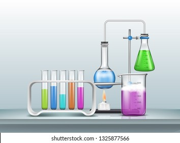 Chemical, biology research experiment or test 3d realistic vector with laboratory graduated glassware filled with color reagents, lab flasks connected with pipe, heating by alcohol burner illustration