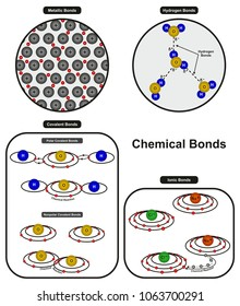 Chemical Bonds infographic diagram showing types of bonding including metallic hydrogen ionic polar and nonpolar covalent bonds for chemistry science education