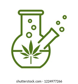 Chemical Cannabis Extraction. Line vector. Isolate on white background.