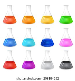 Chemical conical flask icon set with different colored solutions, 3d illustration, isolated on white background, vector, eps 10