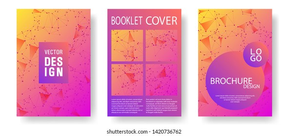Chemical cover layout design. Global network connection low poly grid. Interlinked nodes, atom, web or big data cloud structure concept. Network nodes information technology cover.