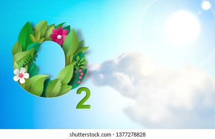 Chemical designation of oxygen O2 from flowers and leaves against the blue sky, the sun and clouds