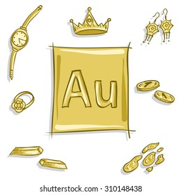 chemical element Au (aurum, gold) - items and objects made of gold