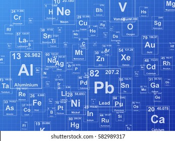 Chemical elements. Background illustration on blueprint