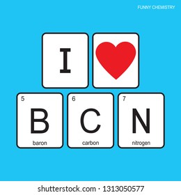 The chemical elements of the periodic table,funny phrase - I love barcelona on blue background,vector illustration.