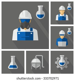 Chemical Engineer Vector Icons