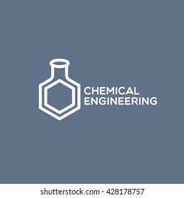 Chemical engineering logo template design. Vector illustration.