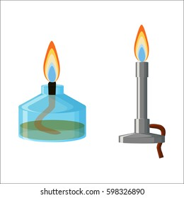 Chemical equipment. Alcohol (spirit) burner and Bunsen burner with flames isolated on white background. Cartoon vector illustration in flat style.