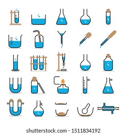Chemical equipment icons for laboratory