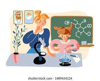 Chemical experiment flat vector illustration. Little girl and smiling female teacher in classroom cartoon characters. School education, chemistry subject. Smart schoolgirl, student holding flasks