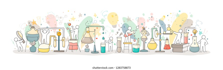 Chemical experiment with working little people, beaker. Doodle cute miniature of teamwork and materials research. Hand drawn cartoon vector illustration for biology and chemistry.
