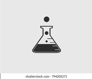 Chemical flask icon on gray Background.
