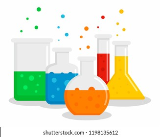 Chemical flask toxic set concept background. Flat illustration of chemical flask toxic set vector concept background for web design