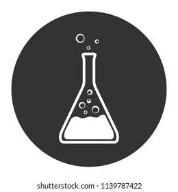 Chemical flasks icon. Toxic laboratory flask icon. Gray background. Vector flat sign.