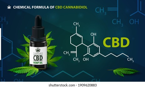 Chemical formula of CBD cannabidiol and CBD oil bottle with cannabis leafs. Dark poster with infographic of chemical formula of CBD cannabidiol