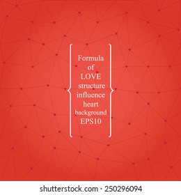 Chemical formula of love background. contains-crystal lattice with hearts instead of atoms.