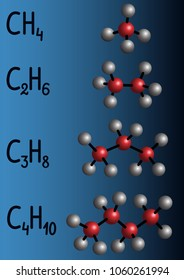 Chemical formula and molecule model methane (CH4), ethane (C2H4), propane (C3H8), butane (C4H10) on dark blue background. Homologous series of alkanes. Vector illustration