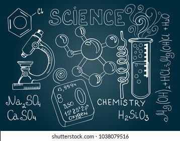 Chemical formula and outlines on blackboard. Hand drawn cartoon background of Science theme.  Vector doodle set.