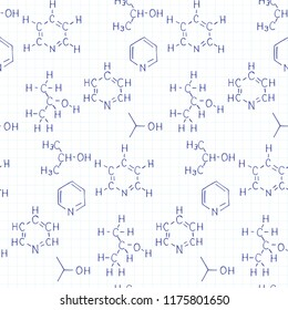 Chemical formula and outlines on workbook page. Vector hand drawn seamless pattern. Scientific  and education background.