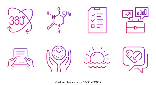 Chemical formula, Receive file and Sunset line icons set. Interview, Full rotation and Business portfolio signs. Safe time, Medical drugs symbols. Chemistry, Hold document. Science set. Vector