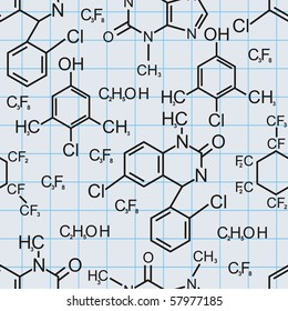 Chemical formula. Seamless pattern