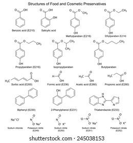 Chemical formulas of food and cosmetic preservatives: parabens, sorbic, benzoic, salicylic, formic, acetic, propionic acids, biphenyl, 2-phenylphenol, thiabendazole and others, vector, eps8