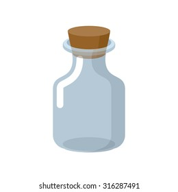Chemical glass bottle with a wooden stopper. theurgy potion container. Magic vessel for potions. Retro Laboratory for study of Bank. Vector illustration. jar for experiments on a white background.