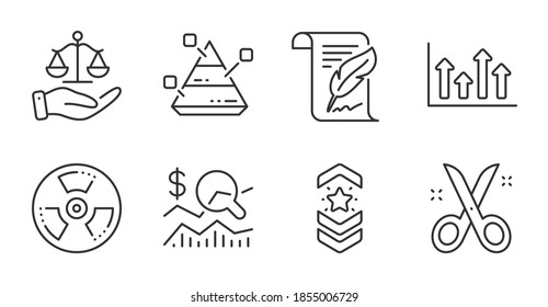 Chemical hazard, Justice scales and Upper arrows line icons set. Pyramid chart, Check investment and Shoulder strap signs. Scissors, Feather symbols. Toxic, Judgement, Growth infochart. Vector