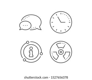 Chemical hazard line icon. Chat bubble, info sign elements. Laboratory toxic sign. Chemistry warning symbol. Linear chemical hazard outline icon. Information bubble. Vector