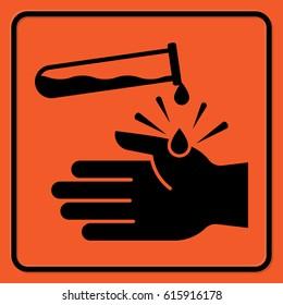 Chemical hazard warning sign. Black silhouettes on the orange background. Rectangular shape