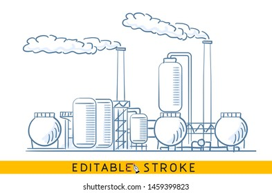 Chemical heavy industry pollution ecology. Line doodle sketch. Editable stroke icon.