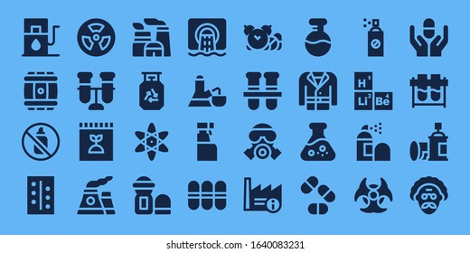 chemical icon set. 32 filled chemical icons. on blue background style Simple modern icons such as: Gas station, Barrel, Aerosol, Pills, Radioactive, Test tube, Fertilizer, Nuclear