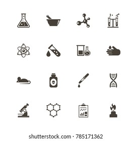 Chemical icons. Perfect black pictogram on white background. Flat simple vector icon.