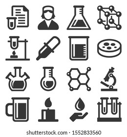 Chemical Icons Set on White Background. Vector
