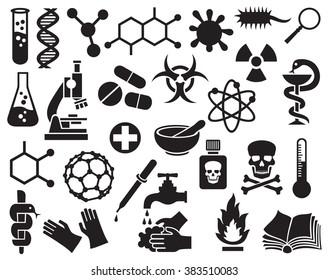 chemical icons set (science elements for design, molecular structures, test tube, radiation symbol, biohazard, pills, dropper, pipette, skull danger, atom, bacterial cell, dna strand)