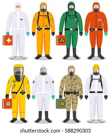 Chemical industry concept. Detailed illustration different workers in differences protective suits on white background in flat style. Dangerous profession. Vector illustration