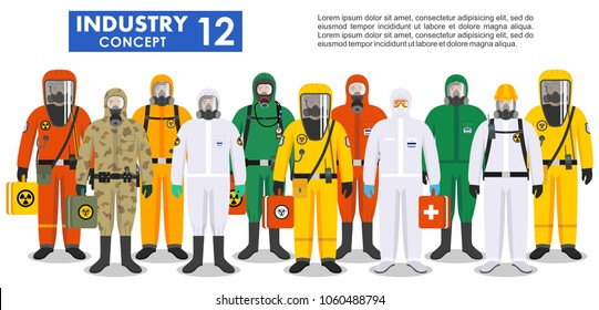 Chemical industry concept. Group different workers in differences protective suits standing together in row on white background in flat style. Dangerous profession. Vector illustration.