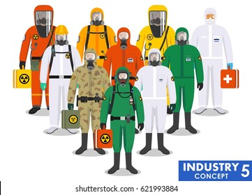 Chemical industry concept. Group different workers standing together in differences protective suits on white background in flat style. Dangerous profession. Vector illustration.