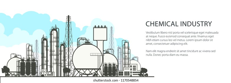 Chemical Industry Horizontal Banner , Industrial Chemical Plant , Refinery Processing of Natural Resources, Poster Brochure Flyer Design, Vector Illustration